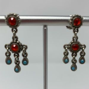 Robert Rose Coral Blue tones Beaded Drop Earrings